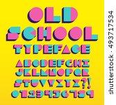 vector geometric retro font... | Shutterstock .eps vector #493717534