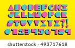 vector geometric retro font... | Shutterstock .eps vector #493717618