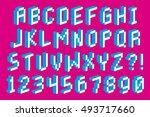 vector pixel 3d font alphabet... | Shutterstock .eps vector #493717660