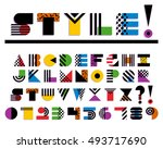 vector geometric colorful font... | Shutterstock .eps vector #493717690