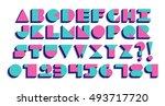 vector geometric retro font... | Shutterstock .eps vector #493717720