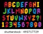 vector isometric pixel 3d... | Shutterstock .eps vector #493717729