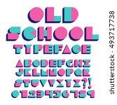 vector geometric retro font... | Shutterstock .eps vector #493717738
