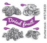 dried fruit illustration.... | Shutterstock .eps vector #493718320