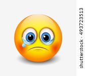 crying sad emoticon  emoji ... | Shutterstock .eps vector #493723513
