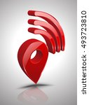 pin wifi icon 3d style. vector... | Shutterstock .eps vector #493723810