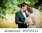 wedding couple at sunshine stay ... | Shutterstock . vector #493725214