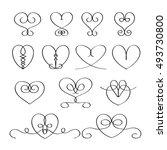 calligraphic heart set | Shutterstock .eps vector #493730800