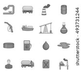oil industry icons set in black ... | Shutterstock . vector #493731244