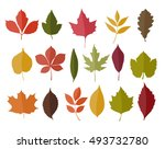 set of isolated autumn colored... | Shutterstock .eps vector #493732780