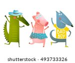 Stock vector cute baby animals crocodile pig wolf dancing wearing clothes cartoon for children dancing or 493733326