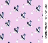 seamless pattern.stork with... | Shutterstock . vector #493734280