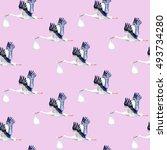seamless pattern.stork with...   Shutterstock . vector #493734280