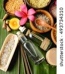 spa setting on banana leaf  | Shutterstock . vector #493734310