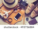 travel accessories on wooden... | Shutterstock . vector #493736884