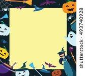 halloween concept banner with... | Shutterstock .eps vector #493740928