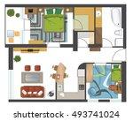 colorful floor plan of modern... | Shutterstock .eps vector #493741024