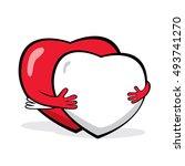 cartoon happy hearts hugging.... | Shutterstock .eps vector #493741270