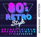80's retro alphabet font. retro ... | Shutterstock .eps vector #493747354