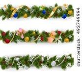 vector christmas border set 6   Shutterstock .eps vector #493749994