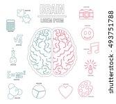 human brain infographics set in ... | Shutterstock . vector #493751788