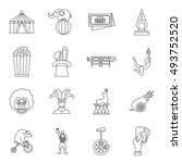 circus entertainment icons set... | Shutterstock . vector #493752520