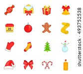 christmas icons set in cartoon... | Shutterstock . vector #493752538