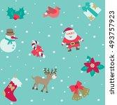 christmas pattern. vector... | Shutterstock .eps vector #493757923