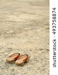 Small photo of Traditional Japanese 'Geta' slippers.Pair of old Japanese Sandals - Geta Japanese Geta sandals are a form of traditional Japanese footwear.have space write words.