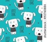 seamless dog pattern vector...   Shutterstock .eps vector #493760884