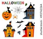 halloween haunted houses...   Shutterstock .eps vector #493762264