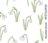 seamless pattern with snowdrops.... | Shutterstock . vector #493763950