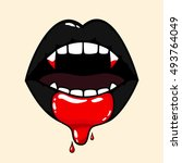vampire woman mouth with blood... | Shutterstock .eps vector #493764049