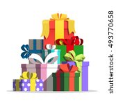 boxes with gifts vector...   Shutterstock .eps vector #493770658