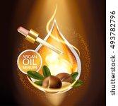 argan oil serum skin care... | Shutterstock .eps vector #493782796