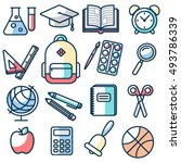 school and education icons set | Shutterstock .eps vector #493786339