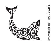 dolphin tattoo in maori style....   Shutterstock .eps vector #493788286