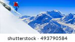 skiing with amazing view of... | Shutterstock . vector #493790584