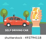 self driving car concept.... | Shutterstock .eps vector #493794118