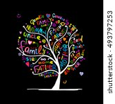 family tree sketch for your... | Shutterstock .eps vector #493797253