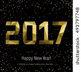 golden glow 2017 new year... | Shutterstock .eps vector #493797748