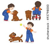 boy playing with dog   vector... | Shutterstock .eps vector #493798000