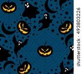 halloween background.seamless... | Shutterstock .eps vector #493803226