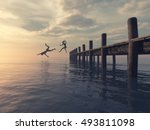 couple jumping together from... | Shutterstock . vector #493811098