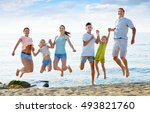 large cheerful glad family of... | Shutterstock . vector #493821760