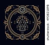 vintage thin line virgo zodiac... | Shutterstock . vector #493821898