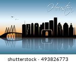 houston skyline   vector... | Shutterstock .eps vector #493826773