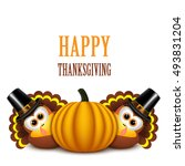 thanksgiving turkeys with... | Shutterstock .eps vector #493831204