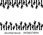 black silhouette hands reach to ... | Shutterstock .eps vector #493837894