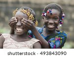 african girls playing peekaboo... | Shutterstock . vector #493843090